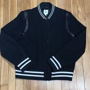 Gap Varsity Jacket Black w/leather trim size M